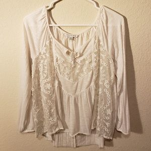 American Eagle Outfitters Cream Colored Lacey Top